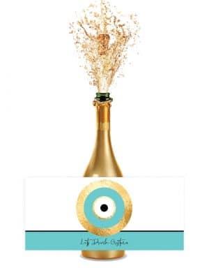 מדבקות לבקבוקים במיתוג אישי בעיצוב עין כחולה בסגנון טיפני