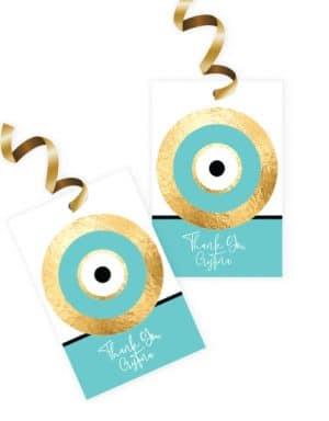 תוויות למתנות בעיצוב עין כחולה בצבעי טיפני
