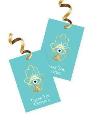 תוויות למתנות בעיצוב חמסה עם עין כחולה בצבעי טיפני