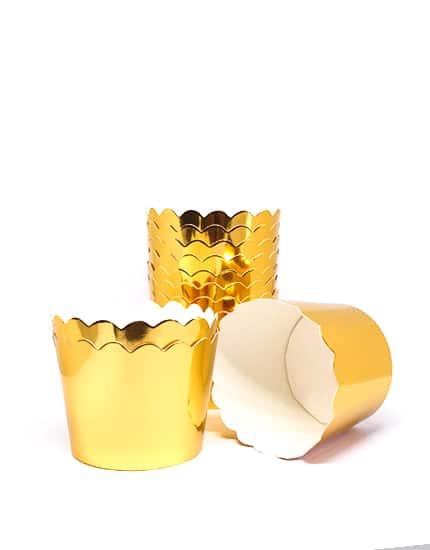 עטרות קרטון למאפינס בצבע זהב