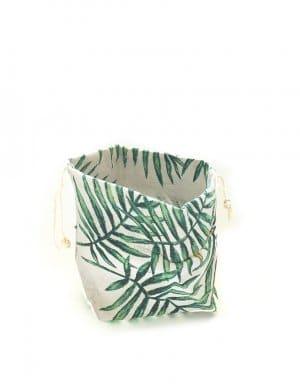 שקיות כותנה עם הדפס של עלים טרופיים