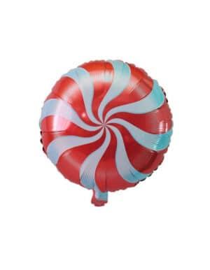 בלון מיילר בעיצוב סוכריה על מקל בצבע אדום