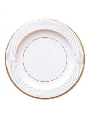 צלחות | לבן עם פס זהב | קלאסי | L