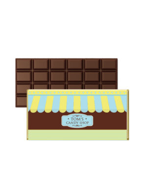 עטיפות ממותגות לשוקולד לימי הולדת לילדים | CANDY SHOP | חום תכלת