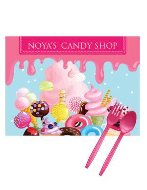 פלייסמנטים ליום הולדת לילדים בעיצוב חנות ממתקים