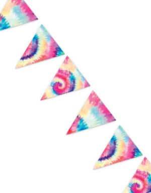גרלנדת דגלים בעיצוב טאי די לארגון יום הולדת TYE DYE