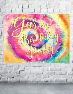 פוסטר בעיצוב טאי די לארגון יום הולדת TYE DYE