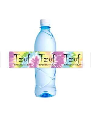 מדבקות לבקבוקים בעיצוב טאי די לארגון יום הולדת TYE DYE