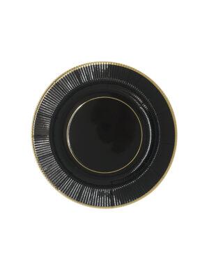 צלחות | שחור עם פס זהב | קלאסי