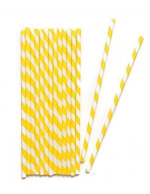 קשים ליום הולדת בצבע צהוב עם פסים לבנים