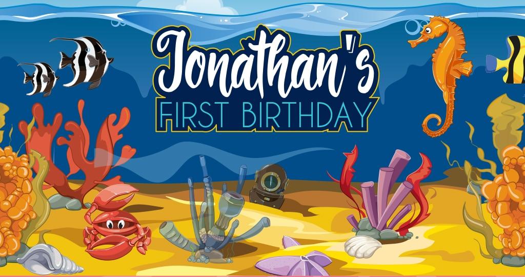 רעיונות ומיתוג ליום הולדת שנה בעיצוב דגים ועולם הים